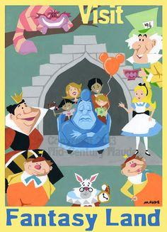 Alice in Wonderland Disney Fan Art Print Retro by MidCenturyMaude, $15.00