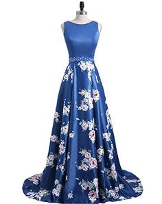 341de85201f Fashion Floral Flowers Pattern Print Prom Dresses Robe De Soiree Open Back  Formal Evening Party Gown Custom Made