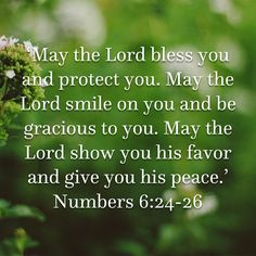 Numbers 'May the LORD bless you and protect you. May the LORD smile on you and be gracious to you. May the LORD show you his favor and give you his peace. Prayer Verses, Bible Prayers, Faith Prayer, God Prayer, Prayer Quotes, Scripture Verses, Bible Verses Quotes, Faith In God, Bible Scriptures