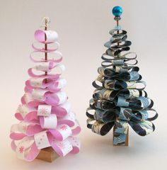 Miniature Christmas Trees - No instructions but you can see the technique from the picture. Really Cute!