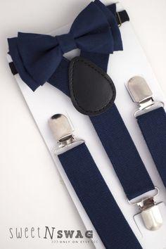 SUSPENDER & BOWTIE SET.  Newborn - Adult sizes. Navy Blue Suspenders. Navy…