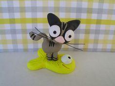 Little Tabby Cat on a Goldfish Polymer Clay Gray Grey Kitty Kitten Miniature Figurine