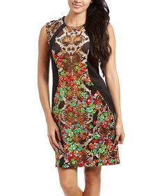 Look at this #zulilyfind! Red & Green Snakeskin Sheath Dress #zulilyfinds