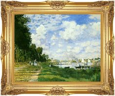 Framed The Basin at Argenteuil Claude Monet Canvas Fine Art Print Painting Repro #accentsnart #Impressionism
