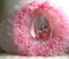 "Ballerina Party Tutu Wreath with Mini Ballet Shoes - 12"". $30.00, via Etsy."