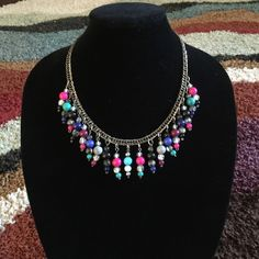 Necklace Beautiful handmade colorful necklace; very fun and playful #multicolor #pink #blue #black #handmade #necklace Basic Sophistication Jewelry Necklaces