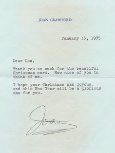 Joan Crawford Autographed Letter