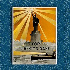 Statue of Liberty New York Vintage Travel Art by AtlasTravelArts, $9.99