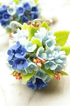 Miniature Polymer Clay Flowers Blue Hydrangea by Mycraftgarden