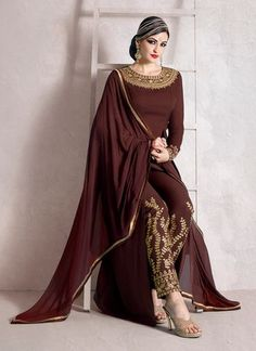 IMPECCABLE BROWN EMBROIDERED PARTY WEAR SUIT