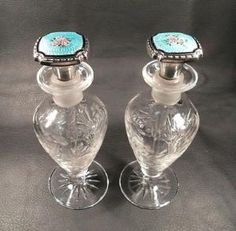 ★rare Pair of Guilloche Enamel Sterling Silver Cut Crystal Perfume Bottles★ | eBay by Vera Battemarco