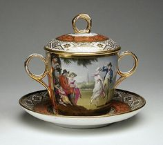 Two-Handled Covered Cup & Saucer, Thomas Baxter, Jr.  circa 1805