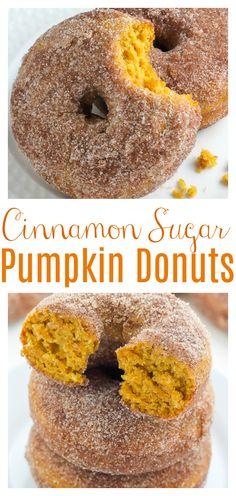 Pumpkin Cinnamon Sugar Donuts (Includes vegan version) - Baker by Nature