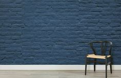 Welcome modern tones to your interior theme in a cool brick style, with this navy blue brick wallpaper, a sleek mural. Brick Wallpaper Accent Wall, Wooden Accent Wall, Blue Accent Walls, Brick Accent Walls, Accent Walls In Living Room, Accent Wall Bedroom, Blue Walls, Painting Brick Interior, Cinder Block Paint