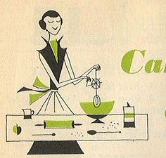 vintage cookbook illustration.