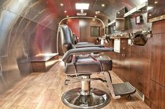 Sterlings Mobile Barber Co. operates a mobile hair cutting service in an Airstream mobile unit.