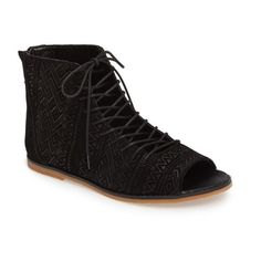 Women's Kelsi Dagger Brooklyn Hendrix Open-Toe Bootie (1.929.575 IDR) ❤ liked on Polyvore featuring shoes, boots, ankle booties, black suede, open toe bootie, black ankle boots, black bootie, black boots and open toe booties