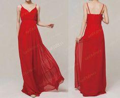 red bridesmaid dress v neck bridesmaid dresses cheap by sofitdress, $138.00