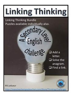 Anagram Linking Thinking Bundle Fast Finishers, Thematic Units, Group Work, Literacy Centers, Student Learning, Critical Thinking, Back To School, Challenges, First Day Of School