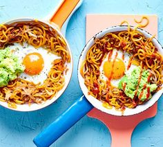This simple quick-fix supper is a great way to use your spiralizer. Sweet potato, avocado, a runny egg and a drizzle of spicy sriracha make a delectable dinner