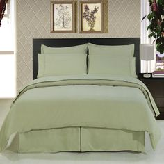 Royal Hotels 8pc Queen Size Bedinabag Solid Sage 600threadcount Down Comforter 100 Percent Cotton Includes Sheets