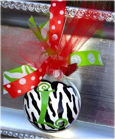 "Glitter Zebra Print ""L"" Ornaments  Christmas by pinksevendesigns, $12.00"