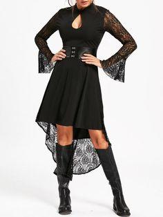 Womens Black Lace Dress Long Flare Sleeve Asymmetrical High Low Semi Formal Dresses