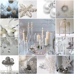 White Christmas Decorating Ideas - click for a treasure trove of more ideas :)