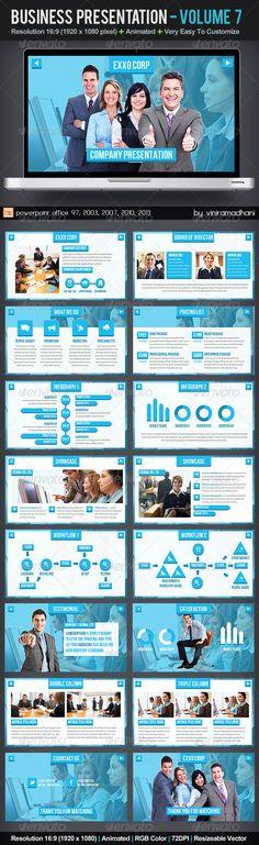 Business Presentation   Volume 7  #GraphicRiver         Specs  :   microsoft office powerpoint 97, 2003, 2007, 2010, 2013