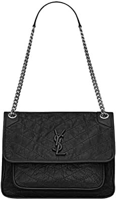 Saint Laurent Women'S Medium Niki Pleated Quilted Black Leather Chain Bag Shoulder Bag Leather Chain, Black Leather, Saint Laurent Handbags, Shoulder Bag, Medium, Stuff To Buy, Fashion, Moda, Fashion Styles