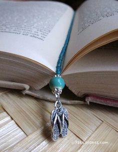 Turquoise Green Flip Flop Beaded Bookmark by PattiMakes on Etsy, $12.00