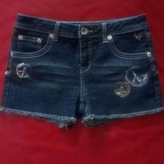 Short Pants Justice Jeans Juniors Short Pants Justice Jeans 72%cotton, 27%polyester, 1%spandex, exclusive of decoration, blue, Justice Jeans Shorts Jean Shorts