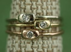 Recycled 14K Gold Stackable Rings With by JanPalmerDesigns on Etsy
