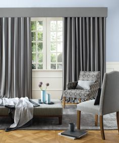 Amberley by Warwick fabrics Grey Curtains, Curtains With Blinds, Curtain Inspiration, Warwick Fabrics, Window Treatments, Townhouse, Windows, Living Room, Curtain Cleaning
