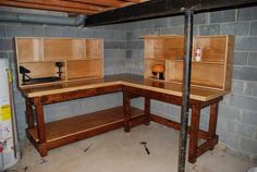 Just finished reloading bench..... - The Michigan Sportsman Forums Reloading Table, Reloading Bench Plans, Reloading Brass, Garage Workbench Plans, Reloading Room, Garage Workshop Plans, Workbench Ideas, Modern Rustic Furniture, Gun Rooms