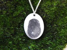 NEW Oval Fingerprint Necklace with actual fingerprint!