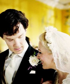 Sherlock and Mrs. Mary Watson at her wedding ::BBC Sherlock:: Sherlock Mary, Sherlock Holmes 3, Sherlock Series, Moriarty, John Watson, Mary Watson, James Watson, The Sign Of Three, I Dont Have Friends