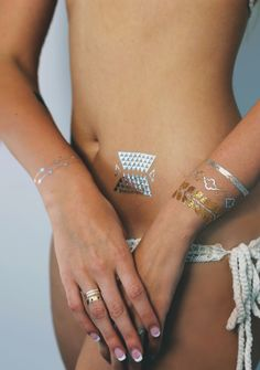 perfect music festival look! http://www.tribetats.com/collections/shop-metallic-jewelry-tattoos/products/anywhere-metallic-jewelry-tattoos