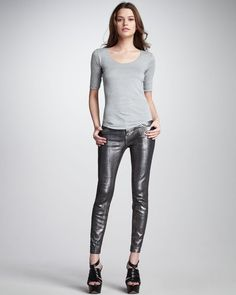 The Stiletto Silver Coated Foil Jeans - Lyst