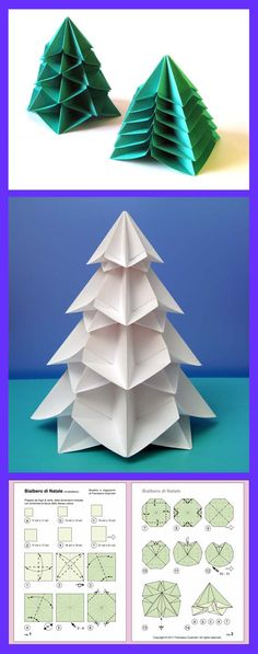 Origami instructions: Bialbero di Natale - Double Christmas tree, designed and folded by Francesco Guarnieri, November Diagrams: guarnieri-origami. Box Origami, Origami And Kirigami, Origami Paper Art, Diy Paper, Origami Christmas Tree, Christmas Crafts, Christmas Decorations, Christmas Ornaments, Christmas Tree Design