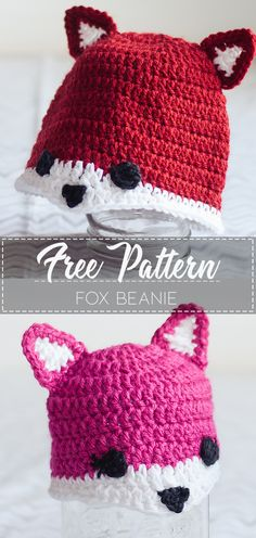 Crochet Baby Beanie, Crochet Kids Hats, Easy Crochet, Crochet Children, Crochet Scarves, Crochet Clothes, Diy Clothes, Crochet Fox Pattern Free, Beanie Pattern Free