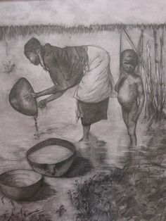 """Imagen cotidiana a orillas del Niger"" Técnica: Carboncillo"
