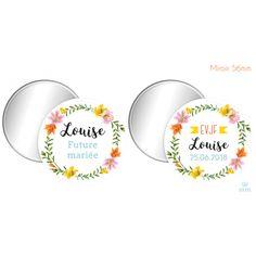 Miroir personnalisé Fleur de Lys est un cadeau original à personnaliser et à offrir pour les EVJF. Ce miroir de poche est décliné en une version Mariée et invitée. Ce cadeau trouvera sa place dans tous les sacs à mains !