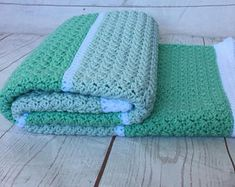 Baby blanket, crocheted blanket - mint and blue blanket - mint bedding - mint nursery decor, baby shower gift