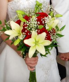 bouquet idea - White Day Lilly's, Red Roses & Baby's Breath