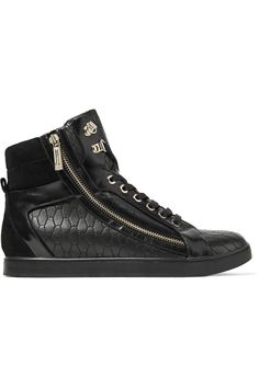 JUST CAVALLI Quilted Leather Sneakers. #justcavalli #shoes #sneakers