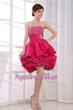 Hot Pink Short Interview Pageant Suits with Pick-ups and Beading