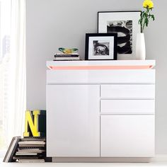 Odessa small sideboard 3 drawer in high gloss white with led - 20193 modern, contemporary living room furniture set clearance sale. Dining Room Sideboard, Small Sideboard, Modern Sideboard, Modern Dresser, Sideboard Cabinet, Small Dresser, Led Furniture, White Furniture, Malm
