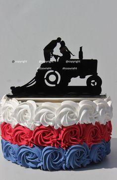 Country Western Redneck Farm Tractor wedding cake topper farmer by CarolinaCarla on Etsy https://www.etsy.com/listing/191663722/country-western-redneck-farm-tractor
