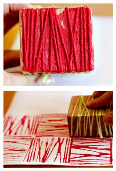 DIY yarn block print